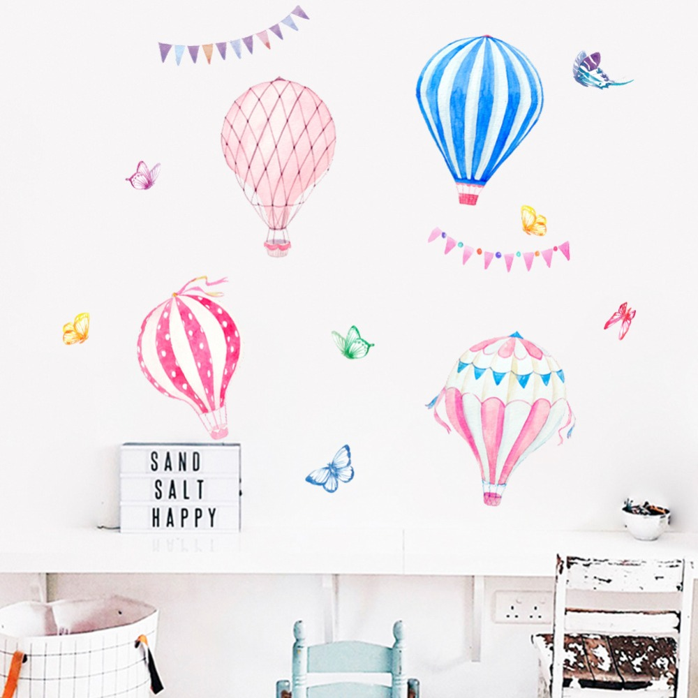 Cartoon Hot Air Balloon Wall Stickers For Kids Room Nursery Baby