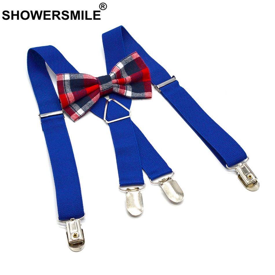 SHOWERSMILE Kids Bow Tie Sets 4 Clips Baby Boy Suspenders Solid Blue X Back Infant Pants Strap Plaid Bow Tie Braces For Children