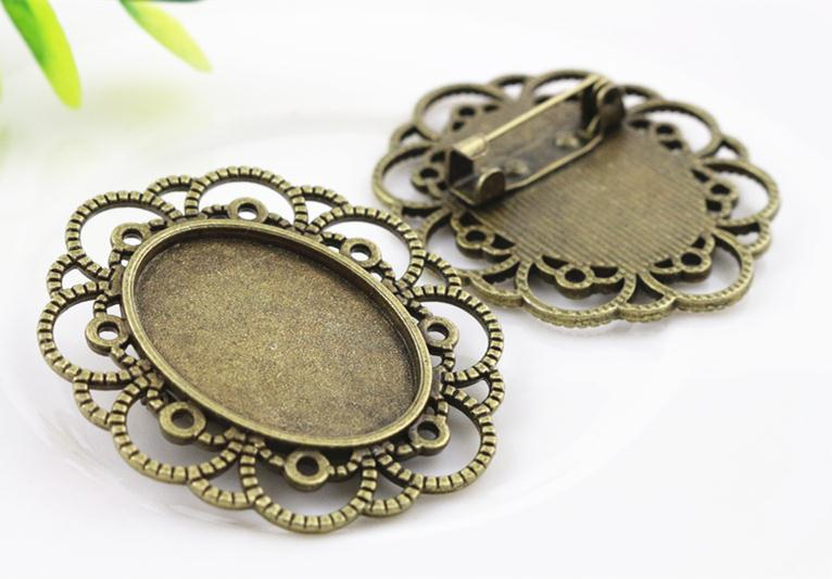 3pcs 18x25mm Inner Size Antique Bronze Brooch Pin Cameo Cabochon Base Setting (C3-10) 2pcs 20mm inner size antique silver and antique bronze colors plated brooch pin fish style cabochon base setting