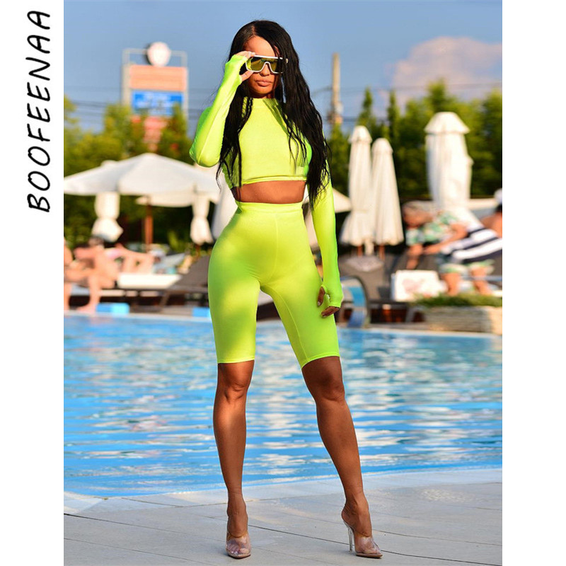 BOOFEENAA Neon Green Tracksuit Sexy 2 Piece Set Women Two Piece Outfits Long Sleeve Crop Top And Biker Shorts 2019 C70-AB01