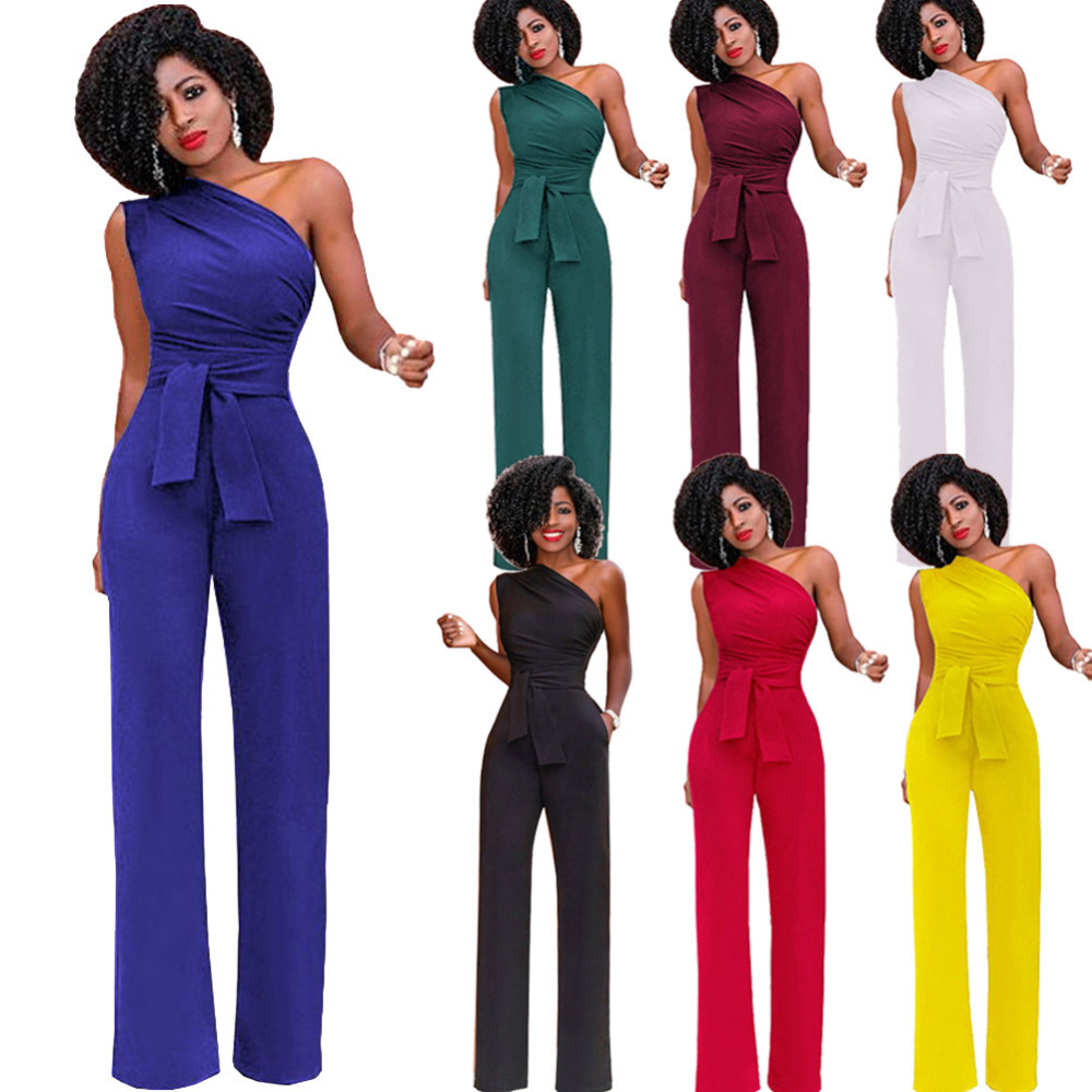 ee523a89cc6 2018 Fashion Casual One Shoulder Jumpsuit Women Sleeveless Wide Leg Lady  Bodysuits Sexy High Waist Solid Rompers Female Overall-in Jumpsuits from  Women s ...