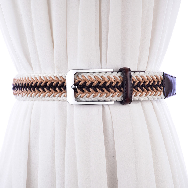 Fashion color men belt New elastic braided mens belts high quality woven belts brushed metal pin buckle stretch belt for jeans