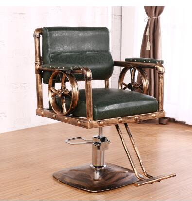 Iron art vintage barbershop chairsalon special adjustable back stool tide shop cut hair chair.