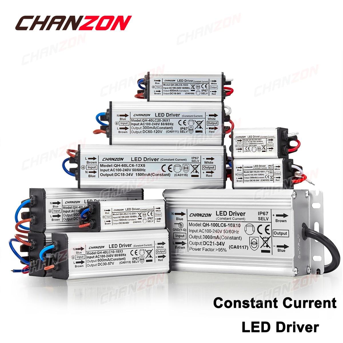 Constant Current LED Driver Waterproof 1W 3W 5W 10W 20W 30W 36W 50W 100W AC 100V-240V Lighting Transformer Power Supply Adapter