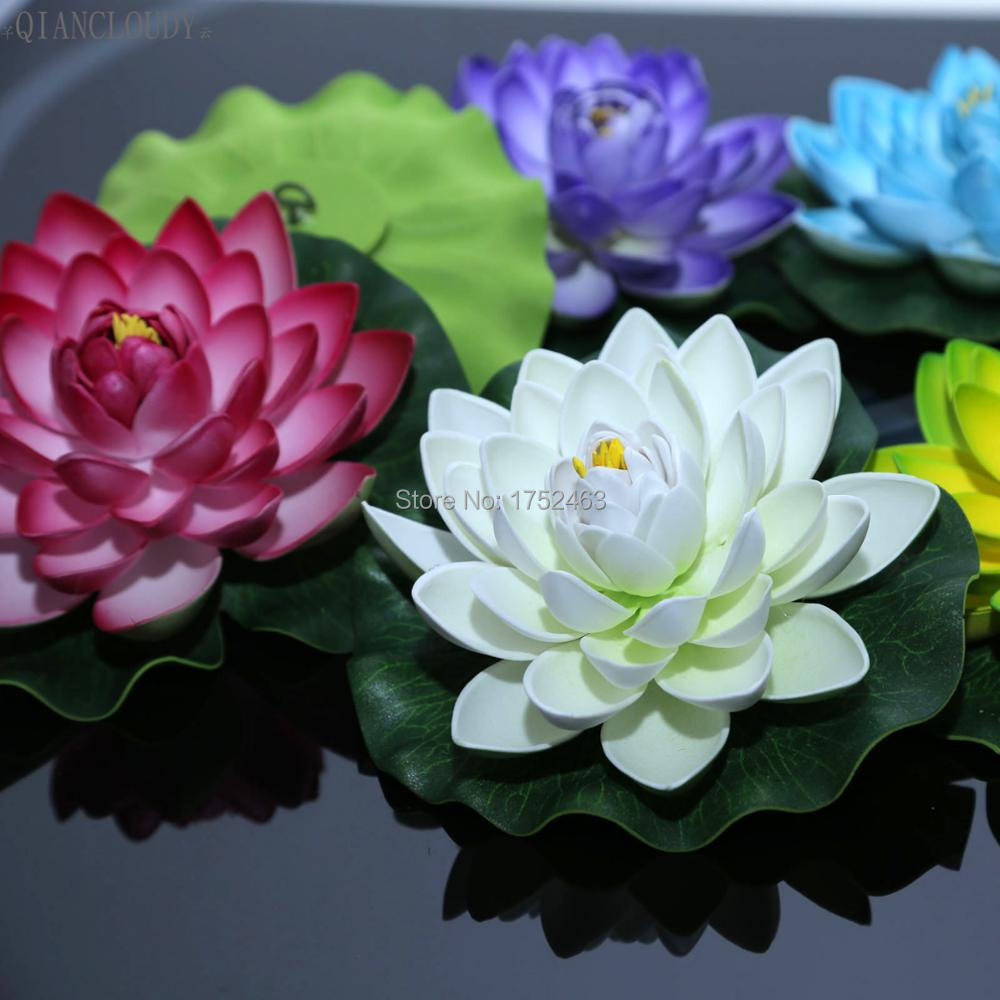 Online shop 10pcs 17 cm decoration garden artificial false foam 10 pieces artificial fake lotus leaf flowers water lily floating plants wedding half open pond flowers izmirmasajfo Gallery