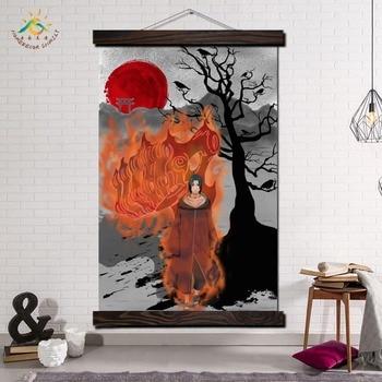 Ogień Itachi Uchiha Anime japonia ściany sztuki na płótnie malarstwo ramki przewiń malarstwo wiszące plakat dekoracyjne obraz sztuki drukuj