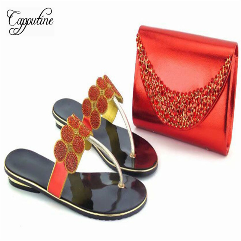 Capputine Nice Design Italian Shoes And Matching Purse Set Latest African Rhinestone Slipper Woman Shoes And Bags Set For Party capputine 2017 new nigeria ladies slipper shoes purse set italian low heels shoes and bags set to match for party tx 1906