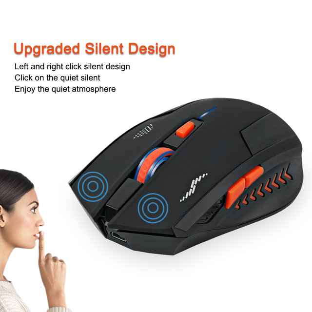 Wireless Mouse Rechargeable Slient Buttons Computer Mouse 2400DPI Gaming Mice Built-in Lithium Battery 2.4G Optical Engine Mouse
