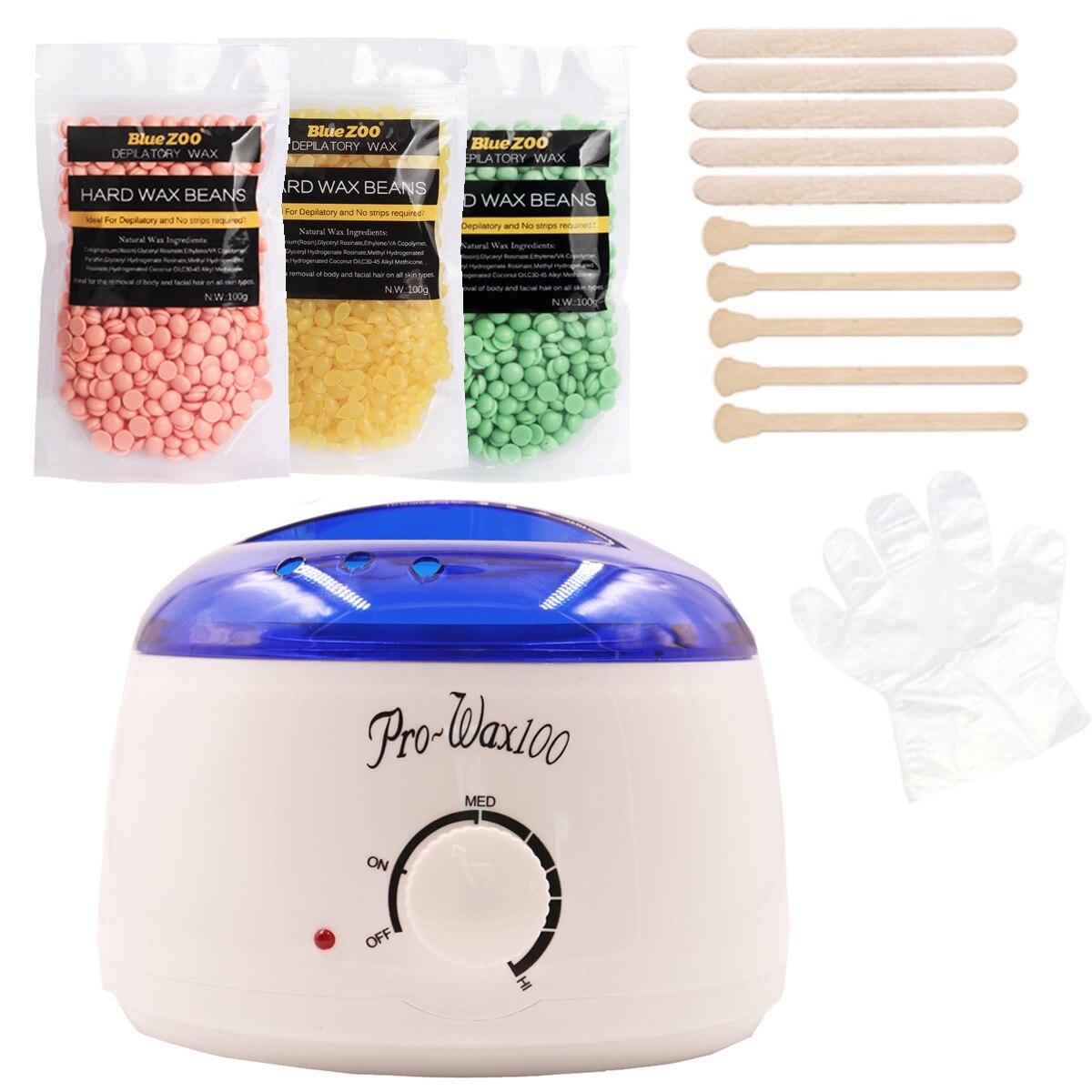 Brazilian Wax Heater 500ML Hair Removal Machine Hard Wax Beans Epilator 3*100g Pearl Wax With Wooden Spatulas Epilation Set eseewigs 100g pc 1 3 hair bundle with closure