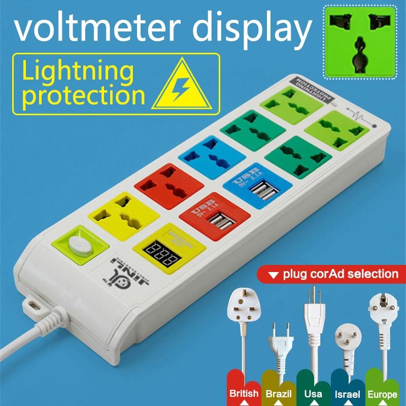 Fil d'alimentation AU EU US 3 m 7 prises et 4 ports de charge USB et prise d'extension universelle pour voltmètre LCD avec prise multi-usages