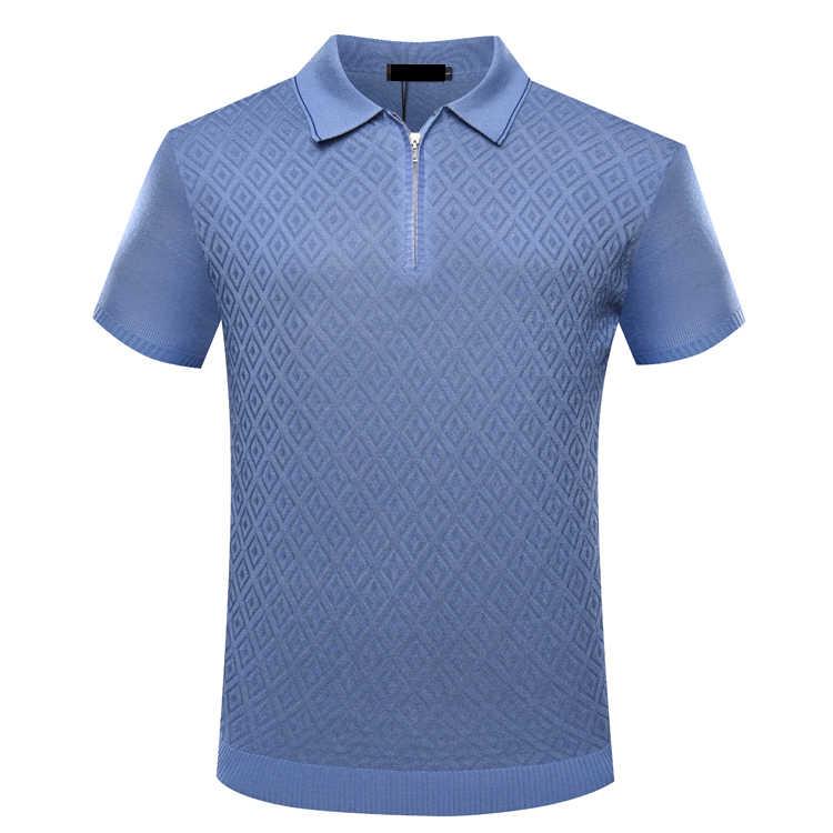TỶ PHÚ TACE & SHARK T áo sơ mi nam 2018 mới phong cách thời trang thoải mái mô hình hình học da dây kéo cổ áo quần áo miễn phí vận chuyển