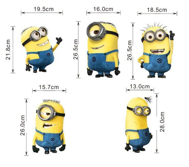 Wholesale Cartoon Despicable me 2 minions wall sticker kid room bedroom  wallpaper home decoration wall stickers