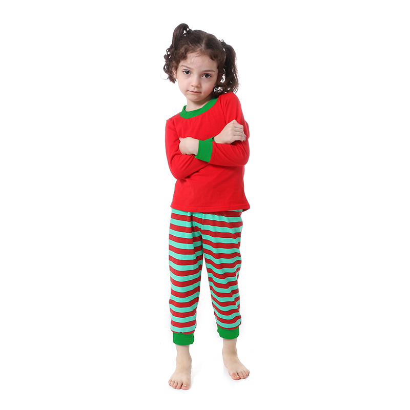 Kaiya Angel Christmas Girls Boutique Outfits Christmas Clothing Set Red Green Green Stripe Shirt Leggings Suit 2 Pcs Pajamas 2