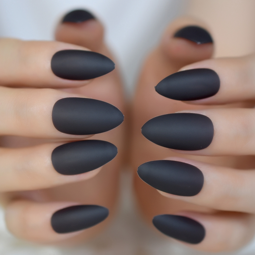 Dropwow Rubber Touch Matte Fake Nails Dark Grey Almond Fake Nail