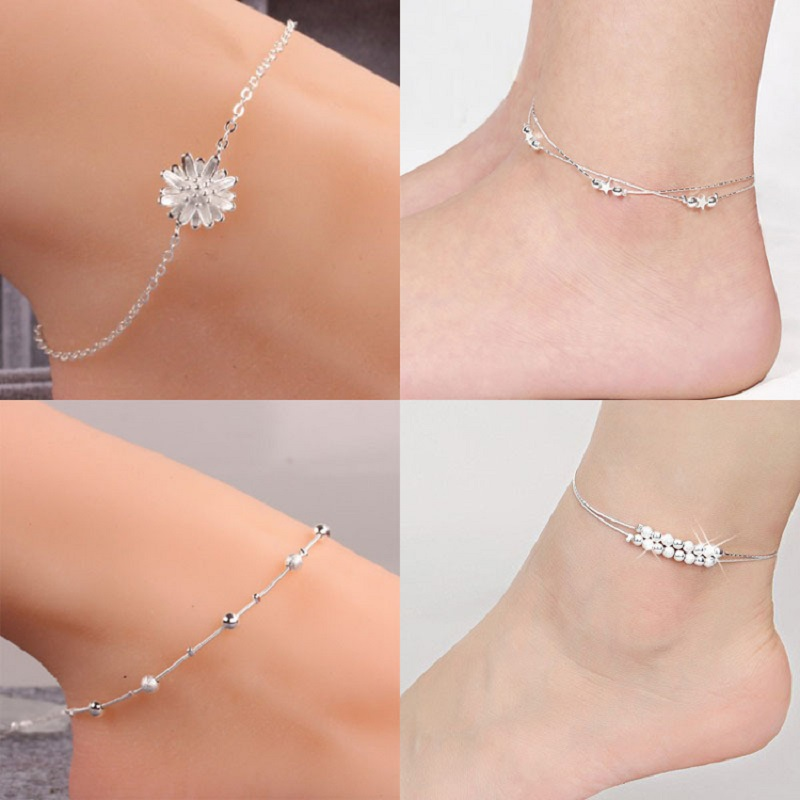 rose ladies store for women sandal balls product plated cute platinum chain tone multi foot bracelet gold jewelry ankle sexy chains anklet