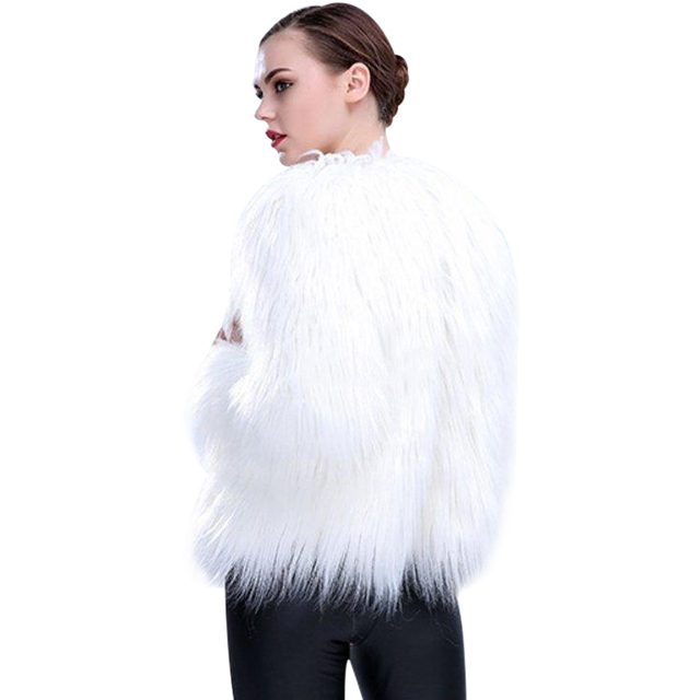 6XL Women Faux Fur LED Light Coat Christmas Costumes Cosplay Fluffy Fur Jacket Outwear Winter Warm Festival Party Club Overcoat 4