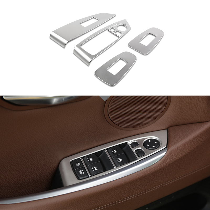 4x Steel Door Window Lift Buttons Frame Cover Trim For BMW 5 Series GT F07 10-17