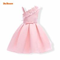 DzBoom Girls Dress Summer 2017 Princess Flower Pink Wedding Birthday Party Dresses For Girls Children Costume