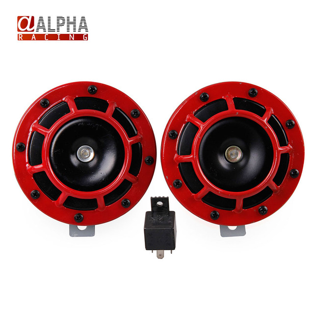 Alpha Racing Free Shipping 12V Red Super Loud Grille Mount Compact on golf cart ride on toy, golf cart wheel packages, golf cart seats, golf cart axles, golf cart accessories, golf cart heaters, golf cart lighting, golf cart fuel system, golf cart long travel, golf cart sound systems, golf cart switches, golf cart trailers, golf cart electronics, golf cart subwoofers, golf cart wire, golf cart exhaust systems, golf cart bags, golf cart body, golf cart winches, golf cart plow,