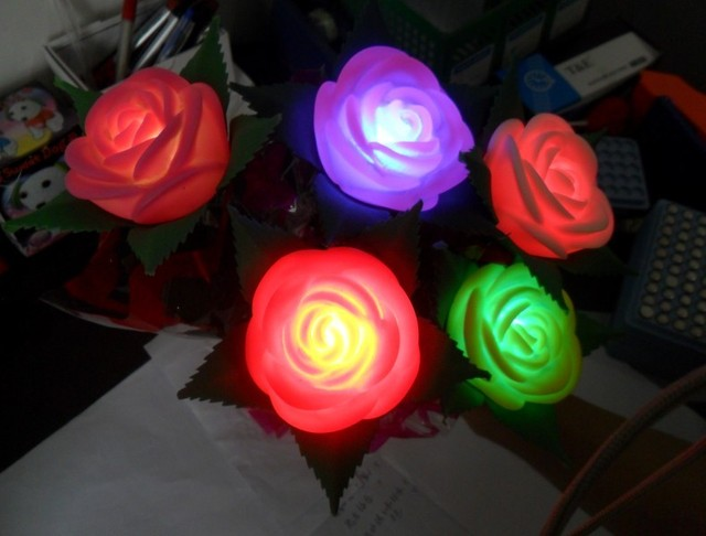 Free shipping, 10pcs/lot Romantic Simulation colorful  Rose Flower with Leaves,LED night light.Wedding Gift,Valentine's Day Gift