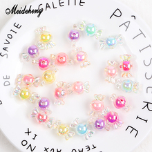 Meideheng Acrylic Charms Candy Beads Rainbow Color Plating Bead With For Jewelry Making Handmade Hair Ring Gifts Kids Toys
