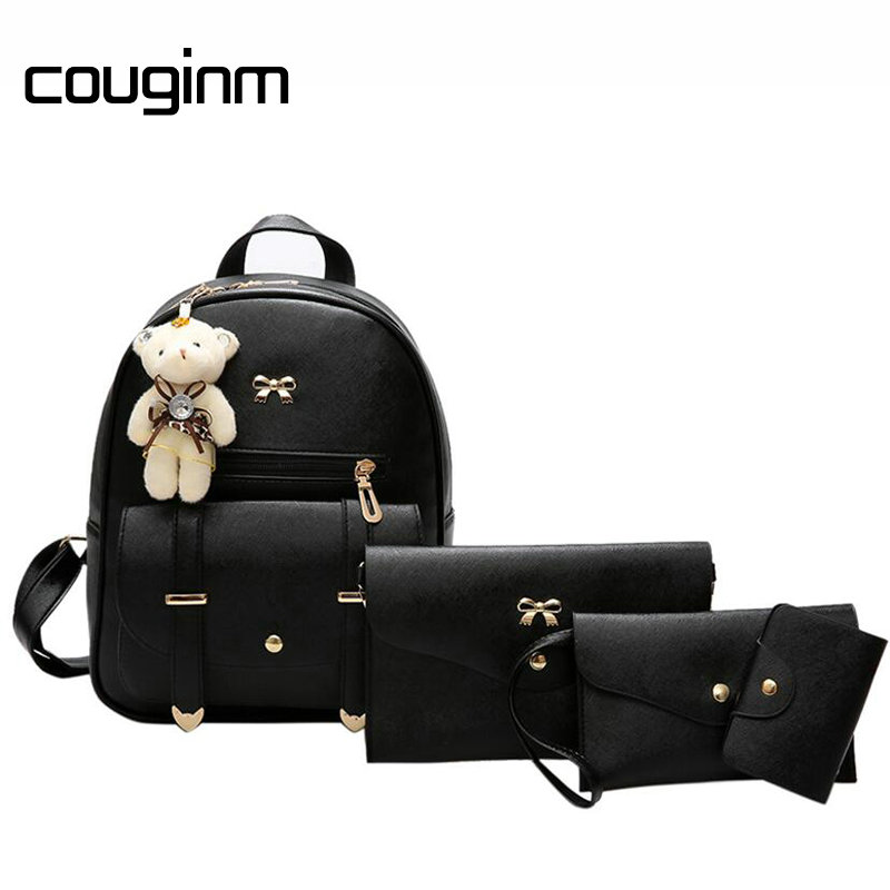 COUGINM Fashion Women Composite Bags Pu Leather Bear Backpack Cute Bow 3Pcs Set Shoulder ...