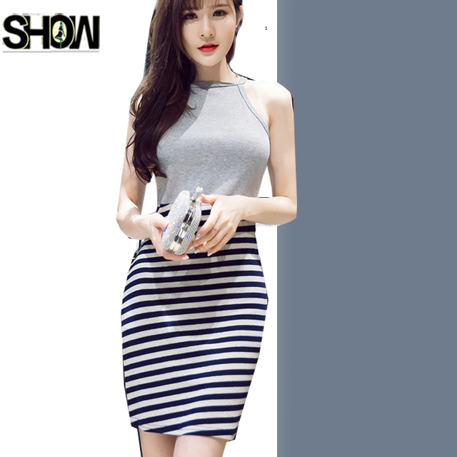 8c095aef27fc Hot Sexy Dresses Korean Style Design Women Fashion Slim Fit Pencil Bandage  Bodycon Patchwork White Black Striped Mini Tank Dress