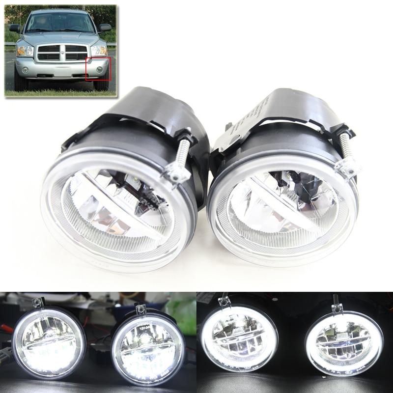 Е4 се 2-в-1 светодиодные Противотуманные фары W/ Белый гало кольца фар дневного света монтажный Комплект для Додж Дакота Дюранго для Chrysler для Гранд Чероки