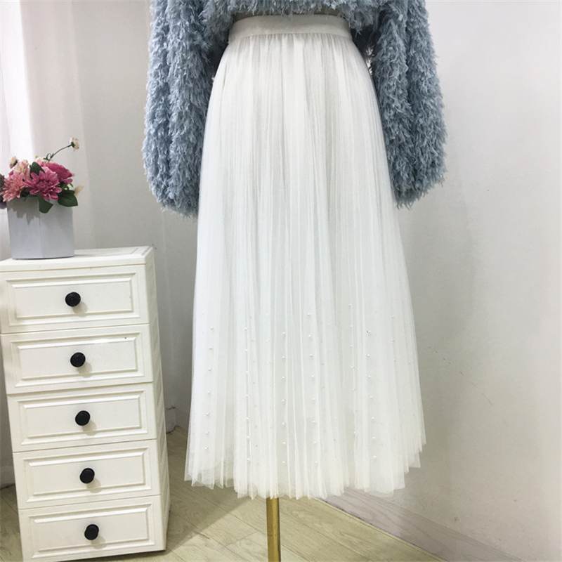 New 2019 Spring Summer Skirts Womens Beading Mesh Tulle Skirt Women Elastic High Waist A Line Mid Calf Midi Long Pleated Skirt 22