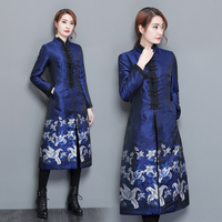 Autumn And Thickening Cheongsam Chinese Style S Windbreaker Coat Cotton Dress Coat Winter Jacket Women Manteau