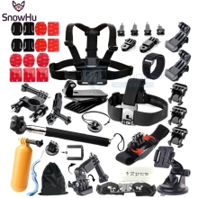 SnowHu for Gopro Accessories Floating Tripod stick Monopod Chest Strap Adapter Set For Go pro Hero 5 4 3+ 2 xiaomi yi sjcam GS08