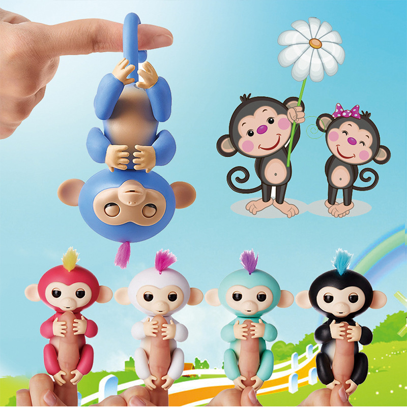 happy monkey Mini Finger Monkey Interactive Baby Pet Intelligent Toy Tip Monkey Smart Electronic Pet finger monkey Toys spoon fork shaped keychain with smile expression silver pair