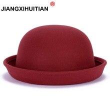 fae2025de1 2017 Nova Moda Outono Inverno quente Feltro de Lã chapéu de Feltro das Mulheres  chapéus Do Vintage Retro Animal Cap Não Deformad.