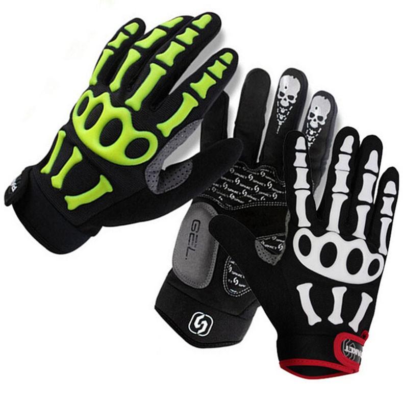 New Cycling Gloves Brand Silicone GEL Full Finger Gloves Skull Bike Bicycle Men Anti Slip Sweat for MTB Riding Green White Black (5)