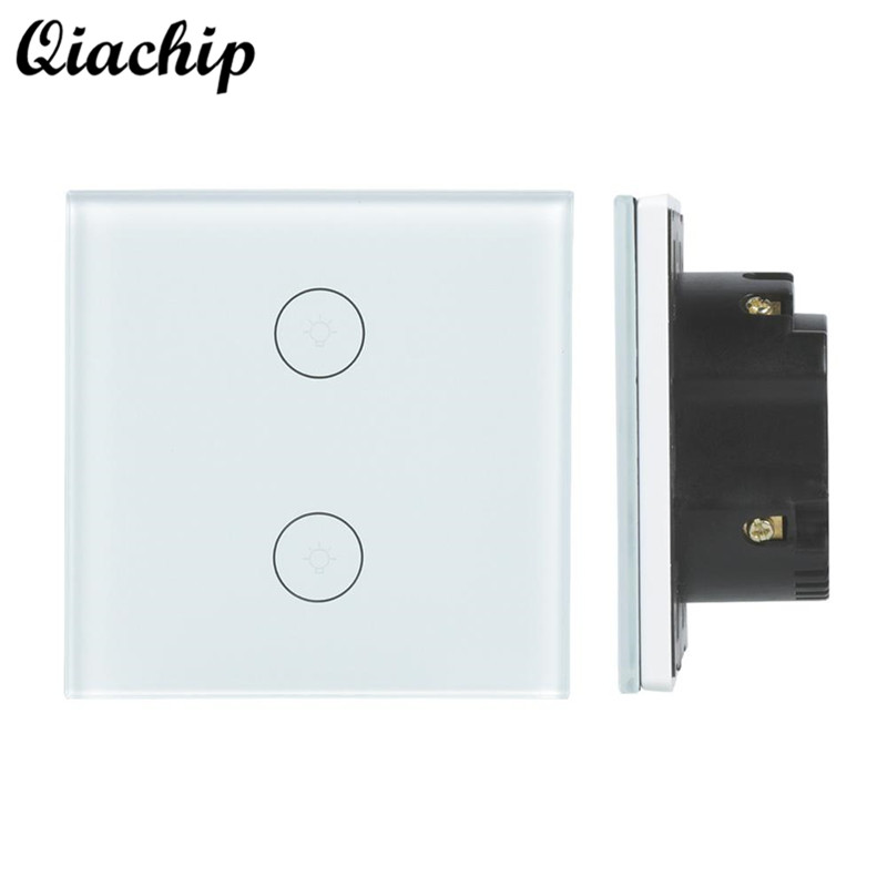 QIACHIP EU Plug 2 Gang 1 Way WiFi Smart Home Switch Wireless Light Lamp Wall Touch Switch Work With Amazon Alexa Google Home qiachip uk plug wifi smart 1 2 3 gang light wall panel switch app control work with amazon alexa google home push button switch
