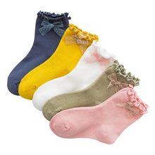 High Quality 5 pair/Set Children\\\'s Socks Lovely Girls Cotton Short Tube Socks Autumn New-arrival Candy Color(China)