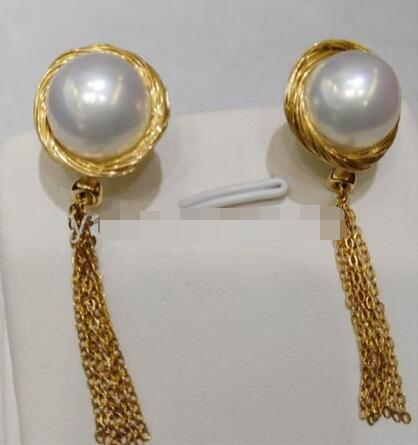 Hot sale Free Shipping>>>>12 13mm white baroque South Sea Pearl earrings 14 gold tassel