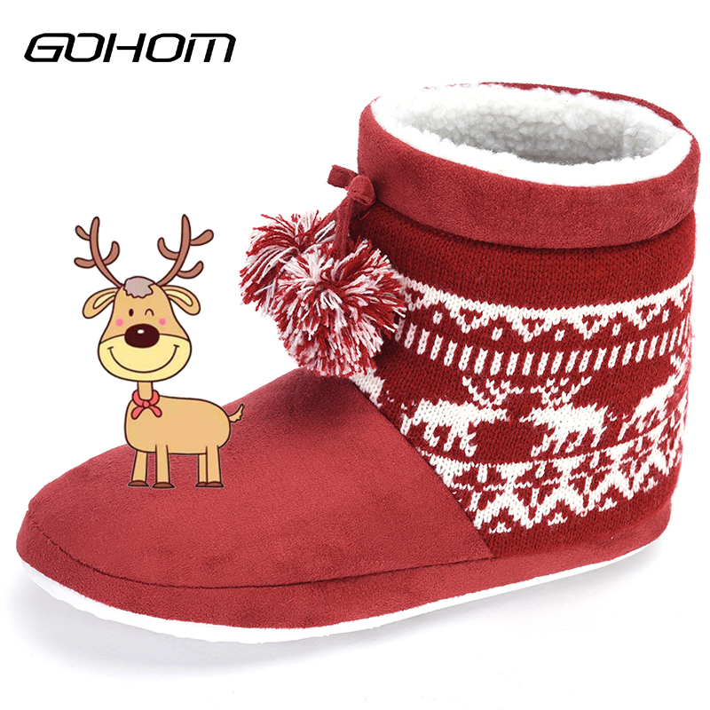 GOHOM Ladies Lovely Elk Pattern Christmas Woolen Home Warm Boots Floor Boots Women Polyester Red Shoes Pantoufles hiver
