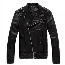 Мужские кожаные куртки в винтажном стиле из искусственной кожи, Осенние тонкие пальто, модные куртки с воротником-стойкой, Мужская Байкерская верхняя одежда для мотоциклистов M-3XL