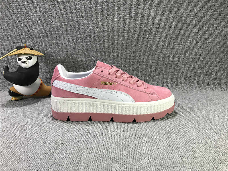 Free shipping Puma women Three generations Rihanna Puma Basket Suede Super  thick bottom sponge badminton shoes 668919384