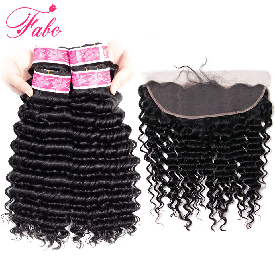 Fabc Hair malaysian hair bundles with closure deep wave 3 bundles with frontal 13*4 with baby hair non remy human hair weaves