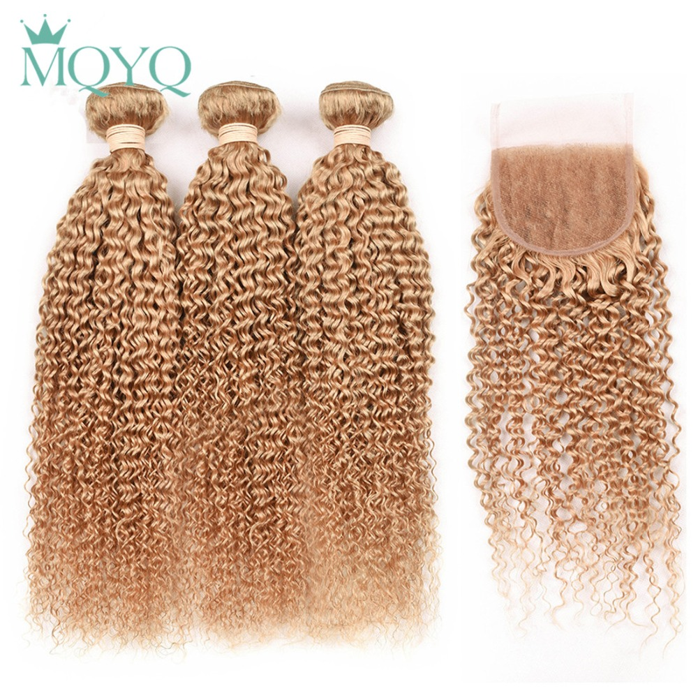 Mqyq #27 Honey Blonde 3 Bundles Malaysian Curly Human Hair With Lace Closure Kinky Curly Human Hair Bundles With Lace Closure Promoting Health And Curing Diseases