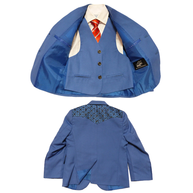 Baby boys Wedding suits 3 piece Blazers jackets terno Infantil Kids Tuxedo clothing sets Children blue party dress - Super Costumes store