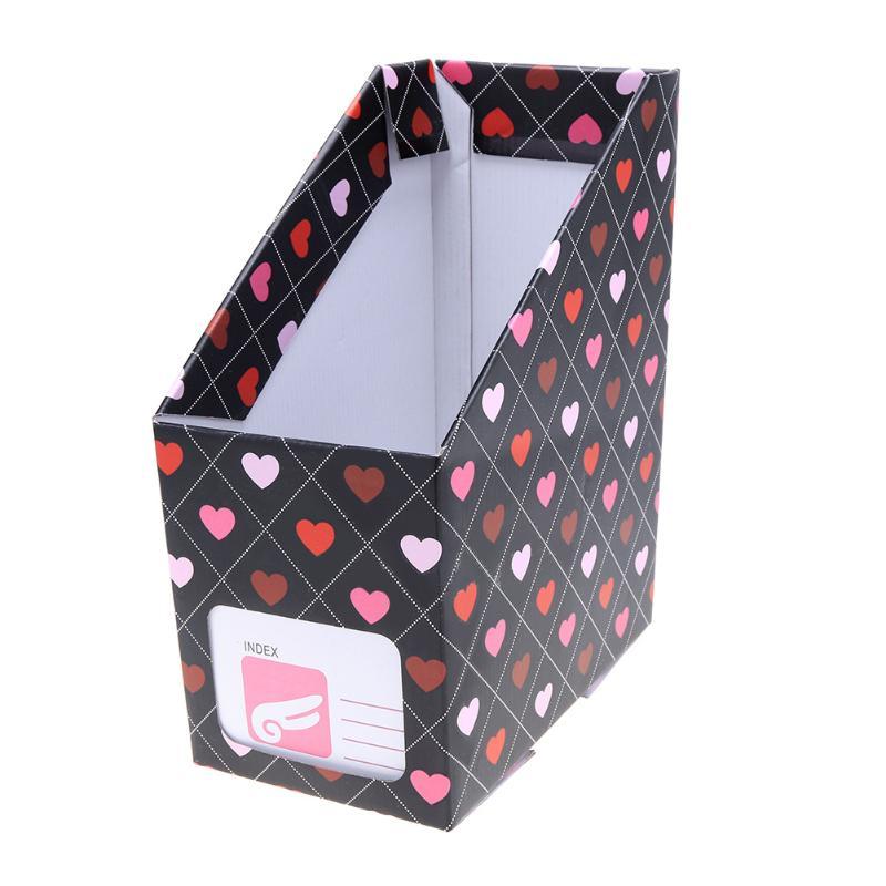 Cute Kawaii Love Heart Office Desk Organizer Paper File Holder Book Magazine Document Storage Box School Stationery Accessories