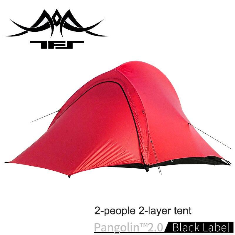 Les spiritueux gratuits TFS PANGOLIN2.0 revêtement en silicone unilatéral 2 personnes 3 saisons ultra léger imperméable Camping tente étiquette noire