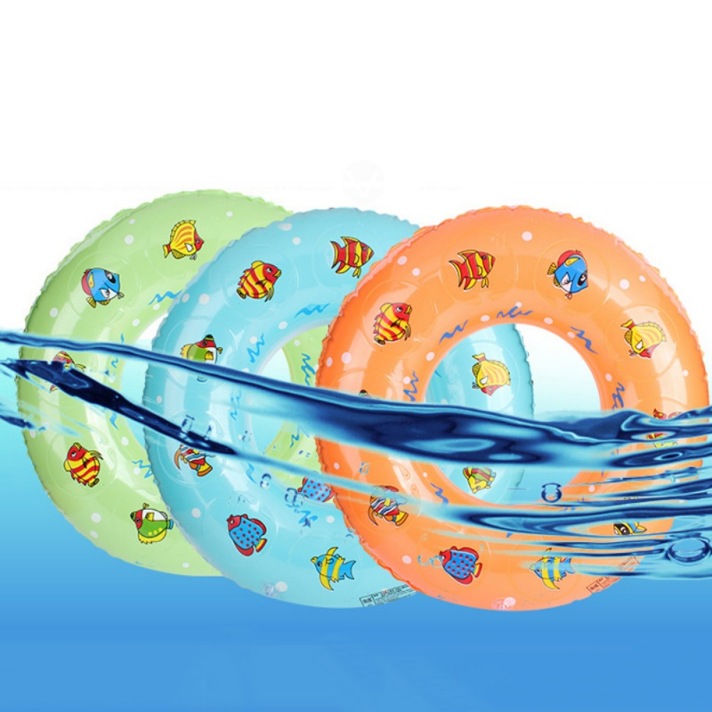 New Summer Thickening Children's Double Crystal PVC Inflatable Swimming Circle Cartoon Swim For Kids Bath Toys