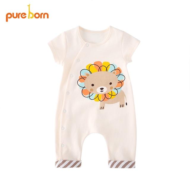 7d0dbc570 Pureborn Newborn Baby Rompers Cotton Baby Boy Girls Clothes Unisex ...