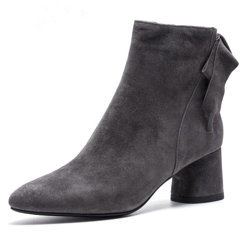 FEDONAS marca mujer tacones cuadrados Mujer Zapatos Mujer cuero genuino Otoño Invierno corto botas básicas señoras nuevas botas de tobillo-in Botas hasta el tobillo from zapatos    2