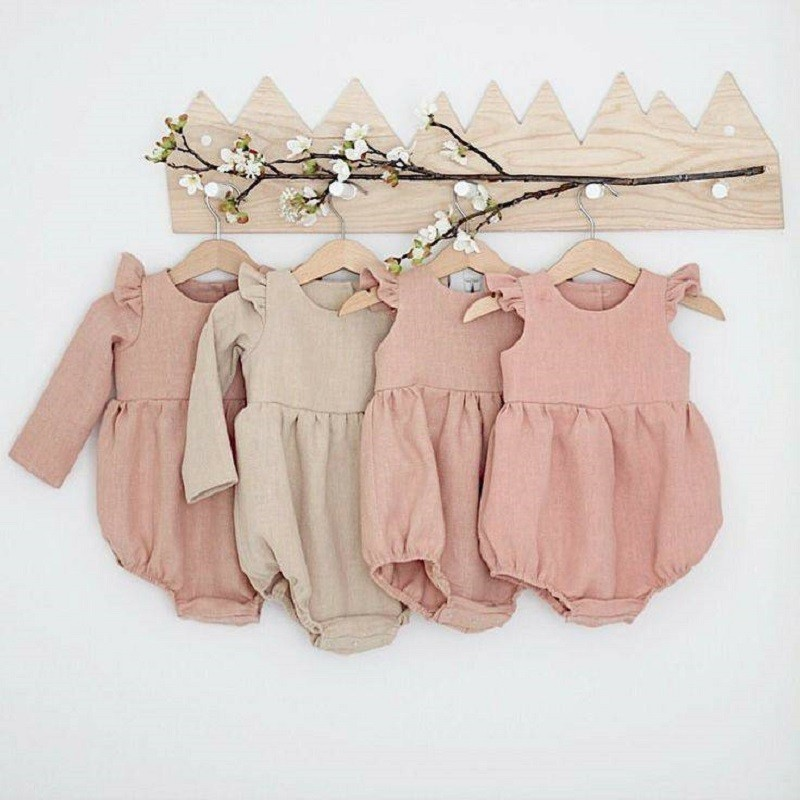 Romper Outfit Playsuit Photo-Props Linen Long-Sleeve Baby-Girl Boutiques Infant Autumn