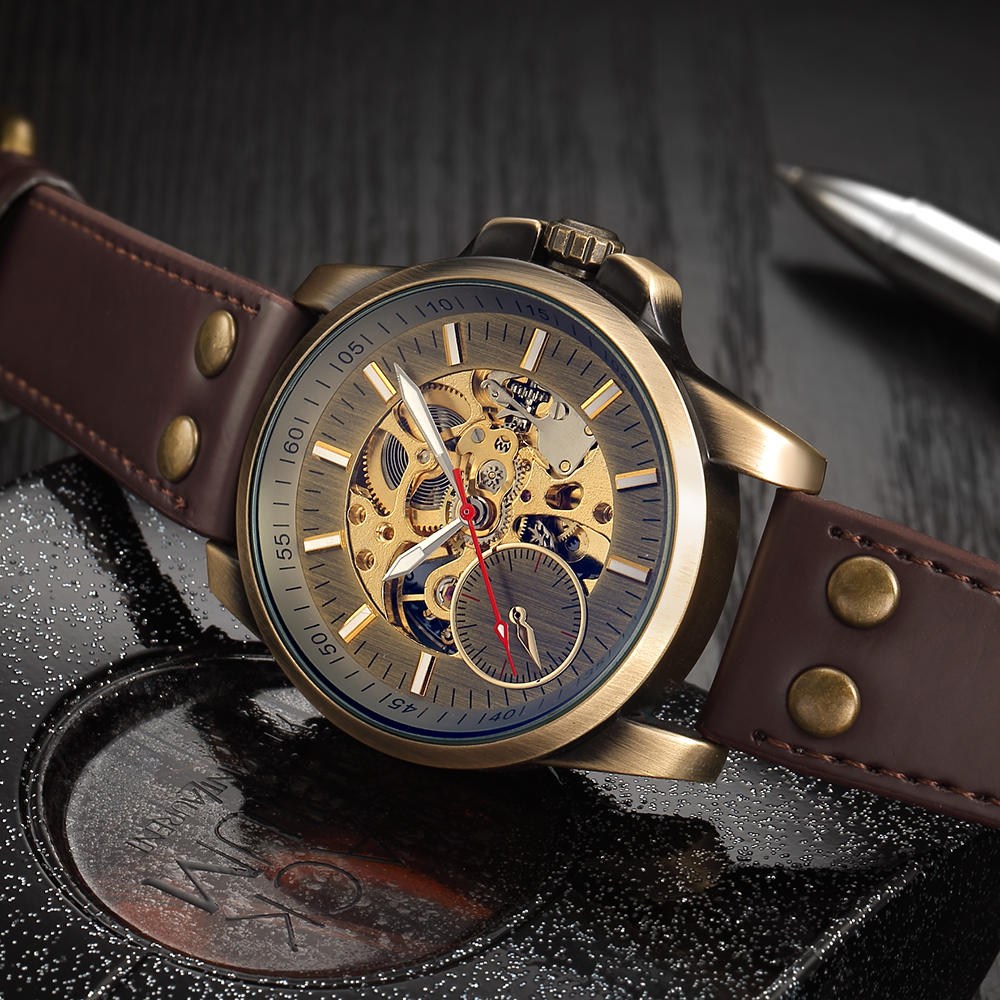 Men Mechanical Watch Automatic Watch Skeleton Self Winding Men Watches Bronze Leather Steampunk Transparent Wristwatch Clock Men 3